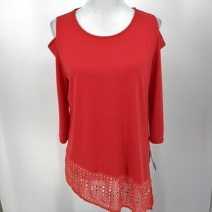 New JM Collection M Red Blouse Top Cold Shoulder